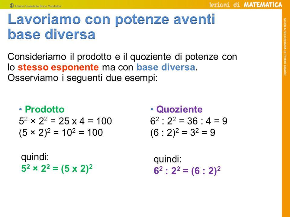 Prodotto 5 2 × 2 2 = 25 x 4 = 100 (5 × 2) 2 = 10 2 = 100 Consideriamo il prodotto e il quoziente di potenze con lo stesso esponente ma con base diversa.