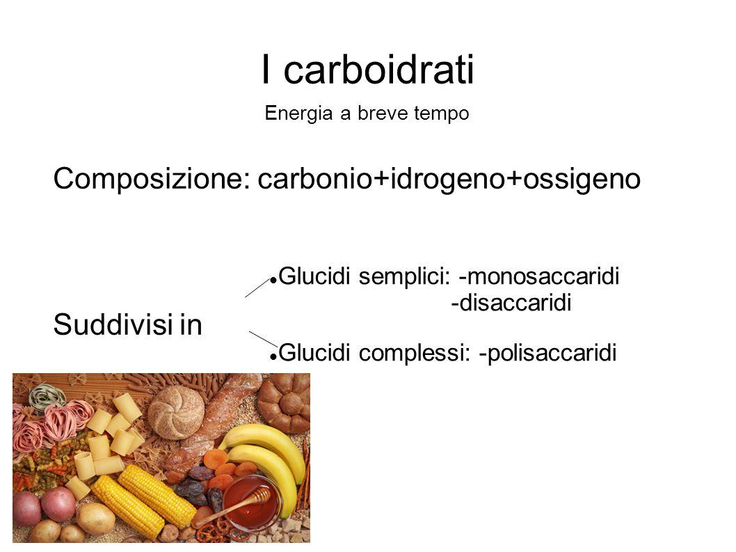 I carboidrati Composizione: carbonio+idrogeno+ossigeno Suddivisi in Energia a breve tempo Glucidi semplici: -monosaccaridi -disaccaridi Glucidi comple