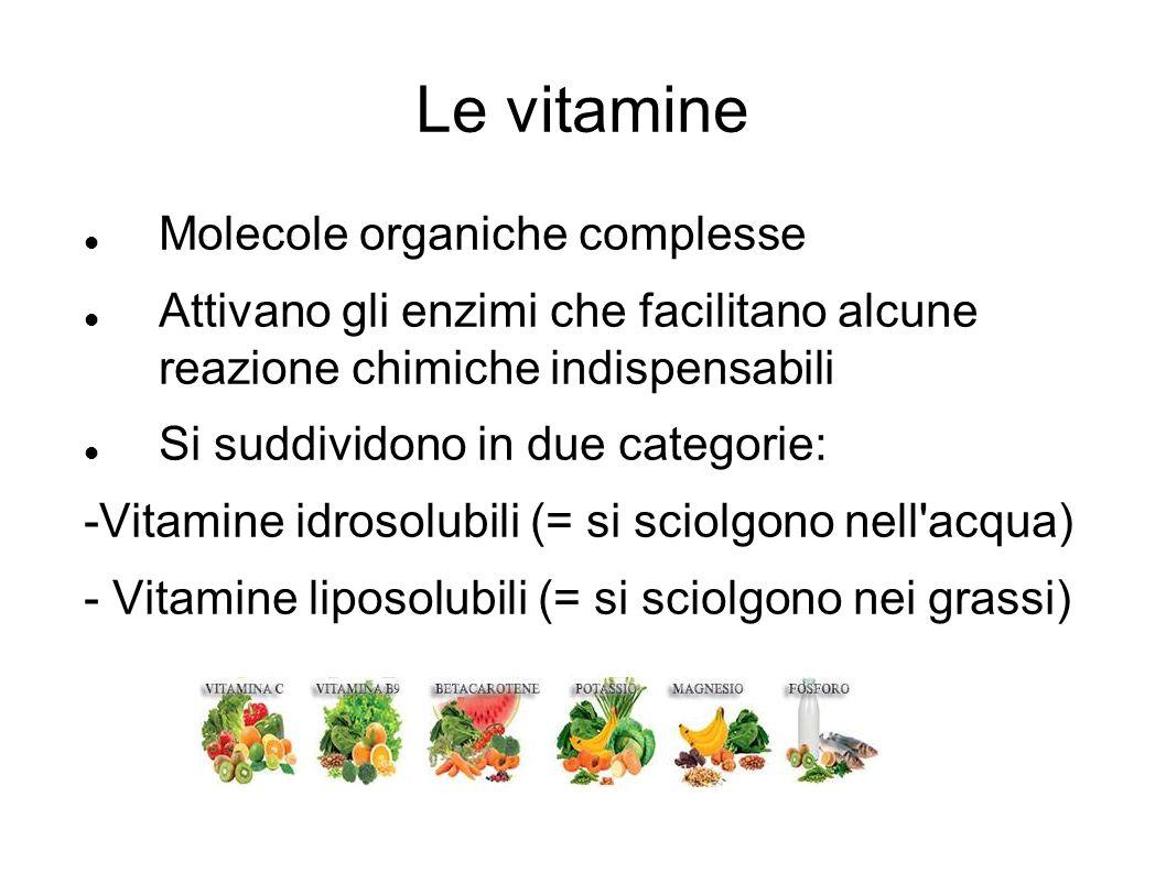 Le vitamine Molecole organiche complesse Attivano gli enzimi che facilitano alcune reazione chimiche indispensabili Si suddividono in due categorie: -