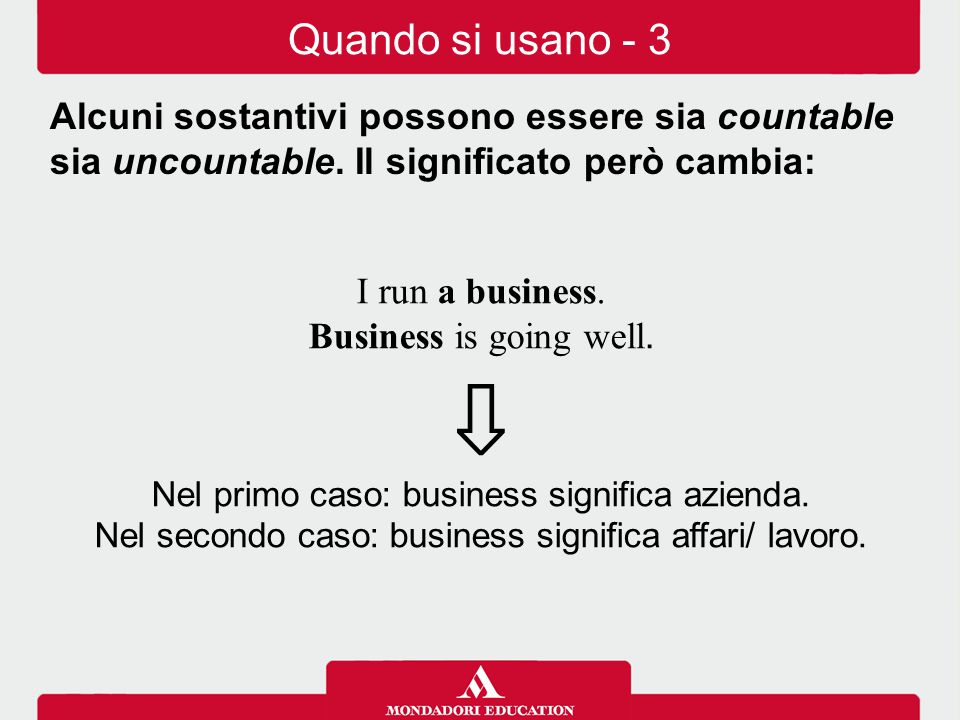 I run a business.Business is going well. ⇩ Nel primo caso: business significa azienda.