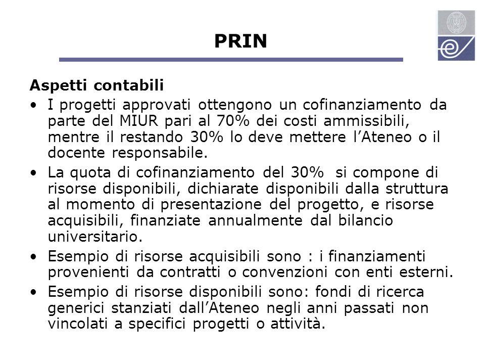 PRIN Aspetti contabili I progetti approvati ottengono un cofinanziamento da parte del MIUR pari al 70% dei costi ammissibili, mentre il restando 30% lo deve mettere l'Ateneo o il docente responsabile.