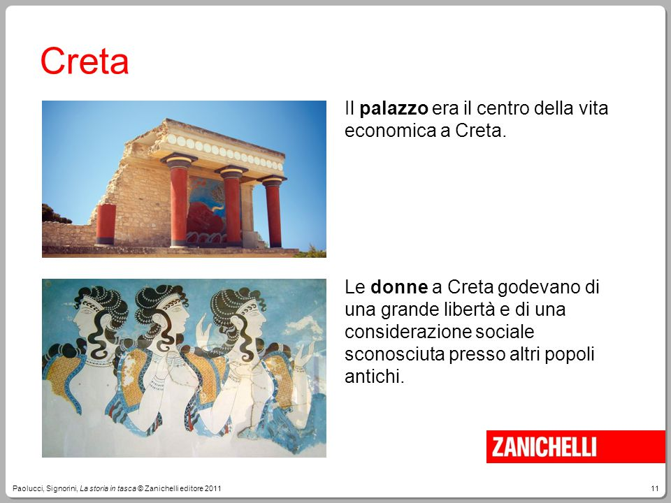 11Paolucci, Signorini, La storia in tasca © Zanichelli editore 2011 Creta Il palazzo era il centro della vita economica a Creta. Le donne a Creta gode