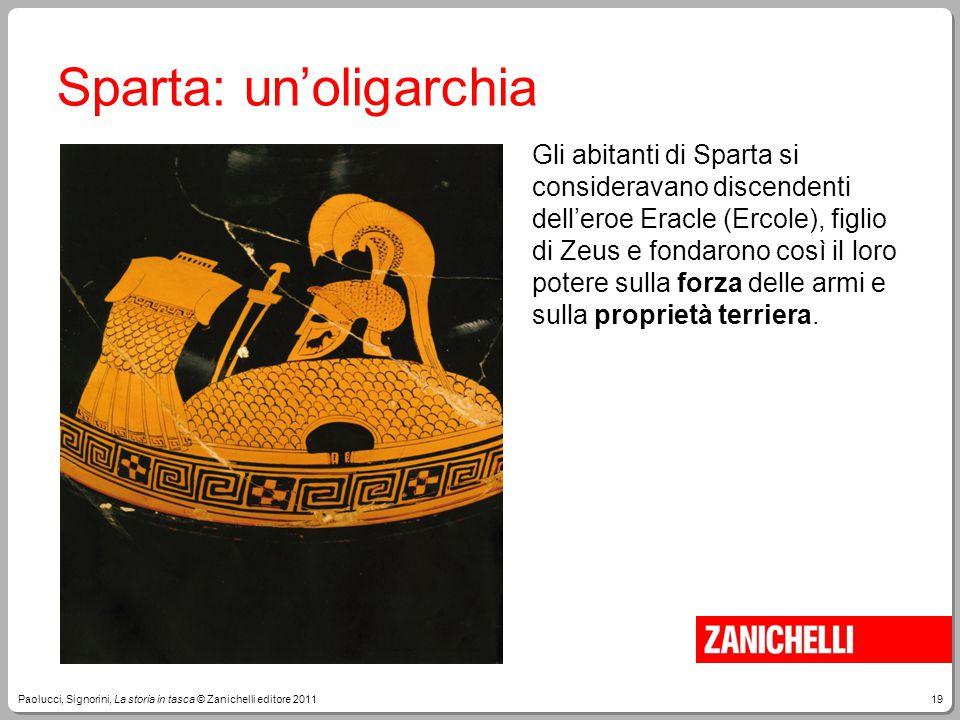 19Paolucci, Signorini, La storia in tasca © Zanichelli editore 2011 Sparta: un'oligarchia Gli abitanti di Sparta si consideravano discendenti dell'ero