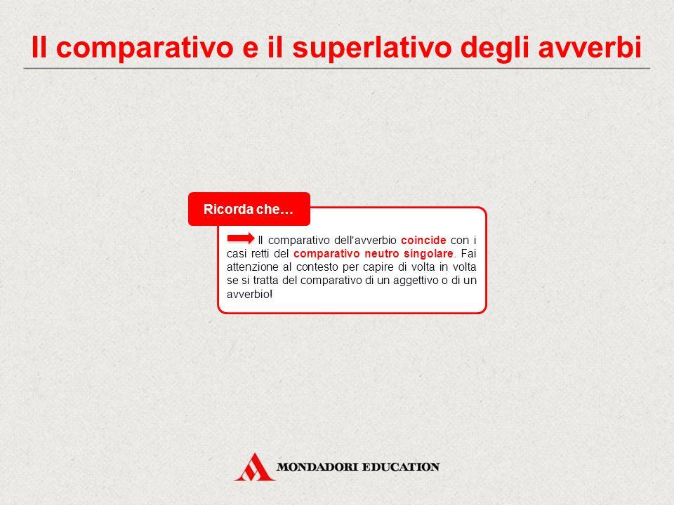 Il comparativo e il superlativo degli avverbi Gli avverbi formano il comparativo di maggioranza aggiungendo alla radice dell'aggettivo corrispondente