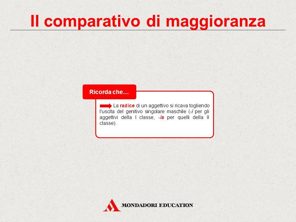 Il comparativo di maggioranza A differenza dell'italiano, il latino forma il comparativo di maggioranza in modo organico, cioè aggiungendo il suffisso