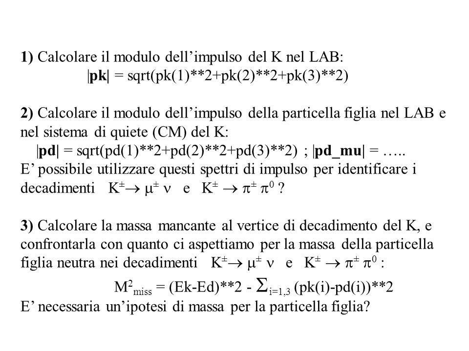 1) Calcolare il modulo dell'impulso del K nel LAB: |pk| = sqrt(pk(1)**2+pk(2)**2+pk(3)**2) 2) Calcolare il modulo dell'impulso della particella figlia nel LAB e nel sistema di quiete (CM) del K: |pd| = sqrt(pd(1)**2+pd(2)**2+pd(3)**2) ; |pd_mu| = …..