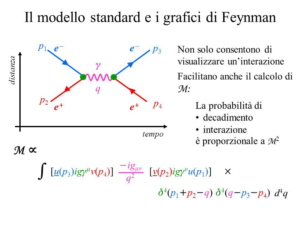 Il modello standard e i grafici di Feynman d4qd4q M    4(ppq)4(ppq)  ig  q 2  q tempo distanza Non solo consentono di visualizzare un'interazione Facilitano anche il calcolo di M: La probabilità di decadimento interazione è proporzionale a M 2 [v(p 2 )ig  u(p 1 )] ee ee p2p2 p1p1 4(qpp)4(qpp) [u(p 3 )ig   v(p 4 )] ee ee p4p4 p3p3