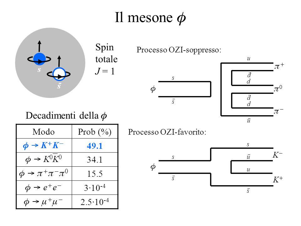 Il mesone  ModoProb (%)  K  K  49.1  K  K  34.1       15.5  e  e  3·10 -4     2.5·10 -4 Processo OZI-soppresso: Processo OZI-favorito:     s s u d d d d u  KK KK s s s u u s s s Decadimenti della  Spin totale J = 1