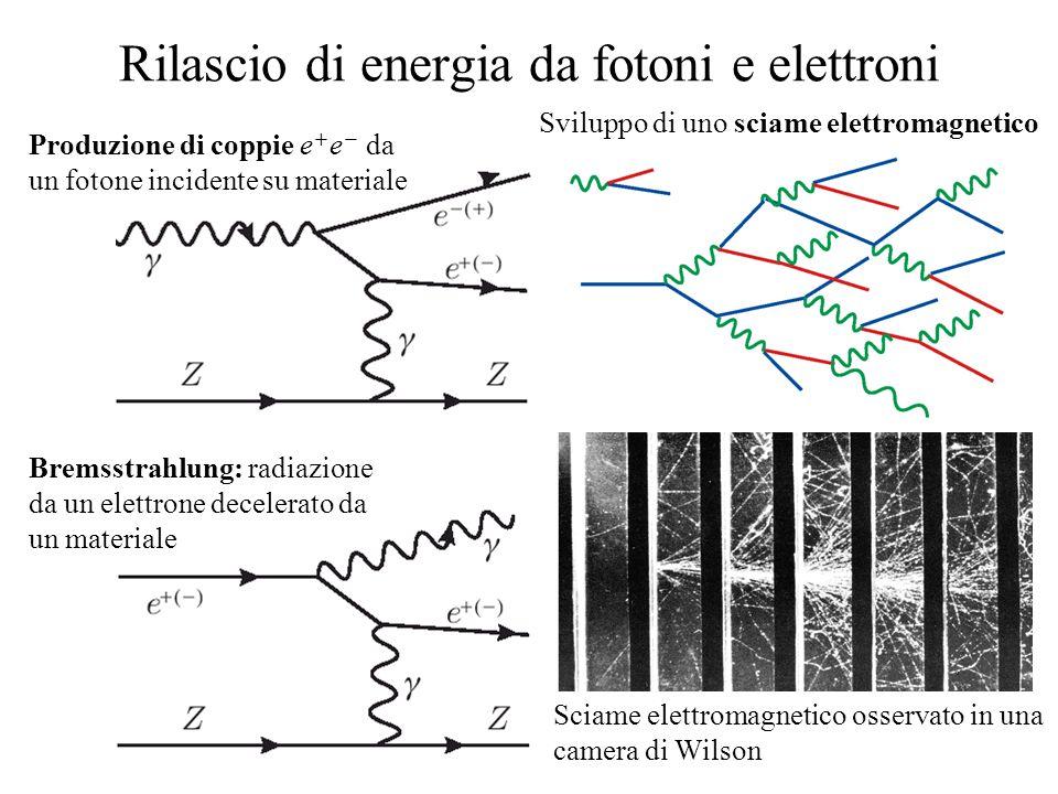 Rilascio di energia da fotoni e elettroni Produzione di coppie e  e  da un fotone incidente su materiale Bremsstrahlung: radiazione da un elettrone decelerato da un materiale Sviluppo di uno sciame elettromagnetico Sciame elettromagnetico osservato in una camera di Wilson