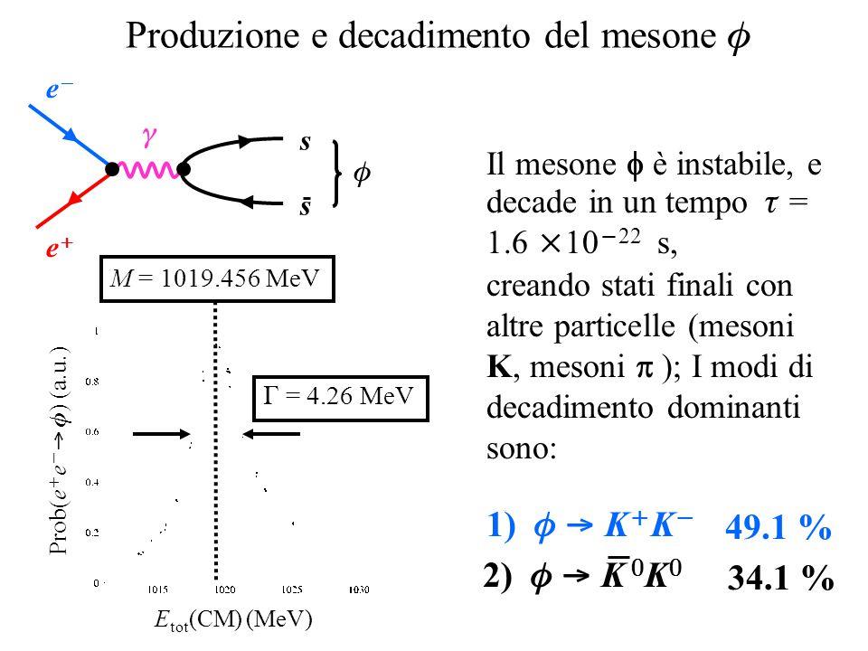 Produzione e decadimento del mesone  ee ee  s s  E tot (CM) (MeV) Prob(e  e   ) (a.u.) M = 1019.456 MeV  = 4.26 MeV Il mesone  è instabi