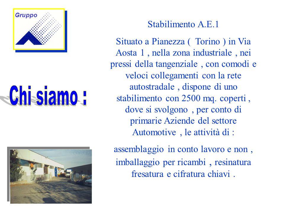 Stabilimento A.E.1 Situato a Pianezza ( Torino ) in Via Aosta 1, nella zona industriale, nei pressi della tangenziale, con comodi e veloci collegamenti con la rete autostradale, dispone di uno stabilimento con 2500 mq.