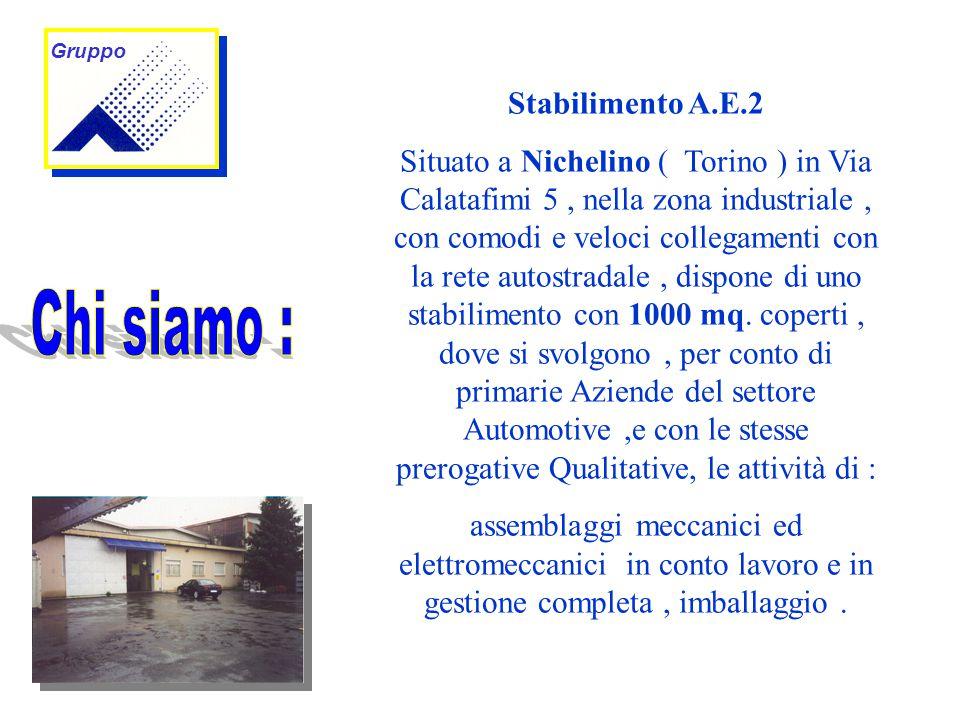 Stabilimento A.E.2 Situato a Nichelino ( Torino ) in Via Calatafimi 5, nella zona industriale, con comodi e veloci collegamenti con la rete autostradale, dispone di uno stabilimento con 1000 mq.