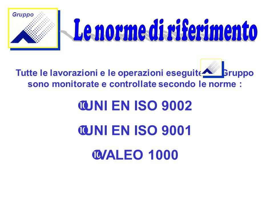 Gruppo Tutte le lavorazioni e le operazioni eseguite dal Gruppo sono monitorate e controllate secondo le norme :  UNI EN ISO 9002  UNI EN ISO 9001  VALEO 1000