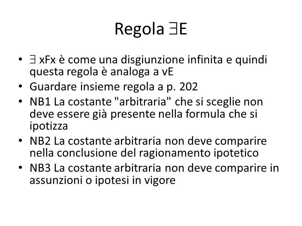 Regola  E  xFx è come una disgiunzione infinita e quindi questa regola è analoga a vE Guardare insieme regola a p.