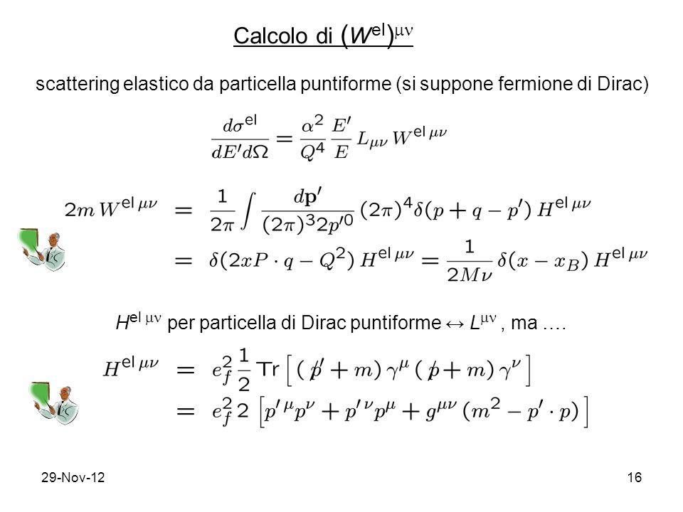 29-Nov-1216 Calcolo di ( W el )  scattering elastico da particella puntiforme (si suppone fermione di Dirac) H el  per particella di Dirac puntiforme ↔ L , ma ….