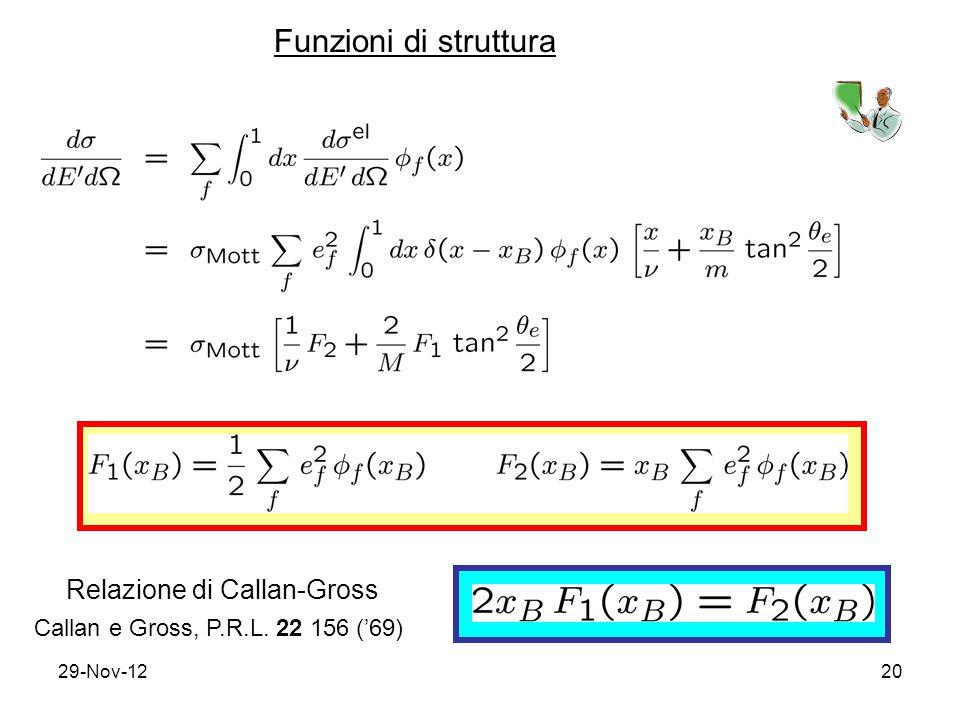 29-Nov-1220 Funzioni di struttura Relazione di Callan-Gross Callan e Gross, P.R.L. 22 156 ('69)