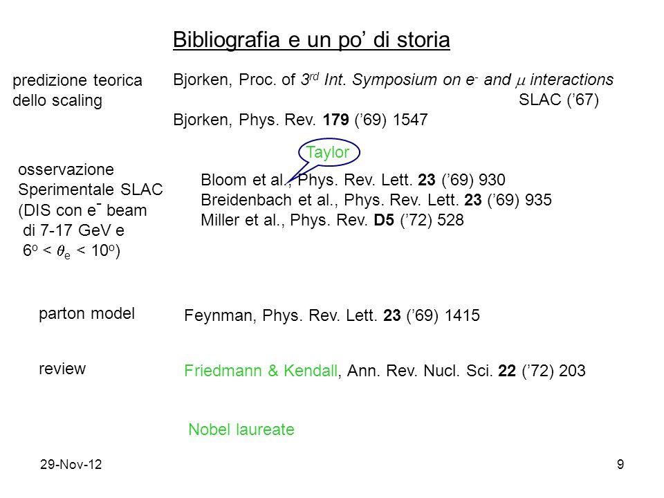 29-Nov-129 Bibliografia e un po' di storia predizione teorica dello scaling Bjorken, Proc.
