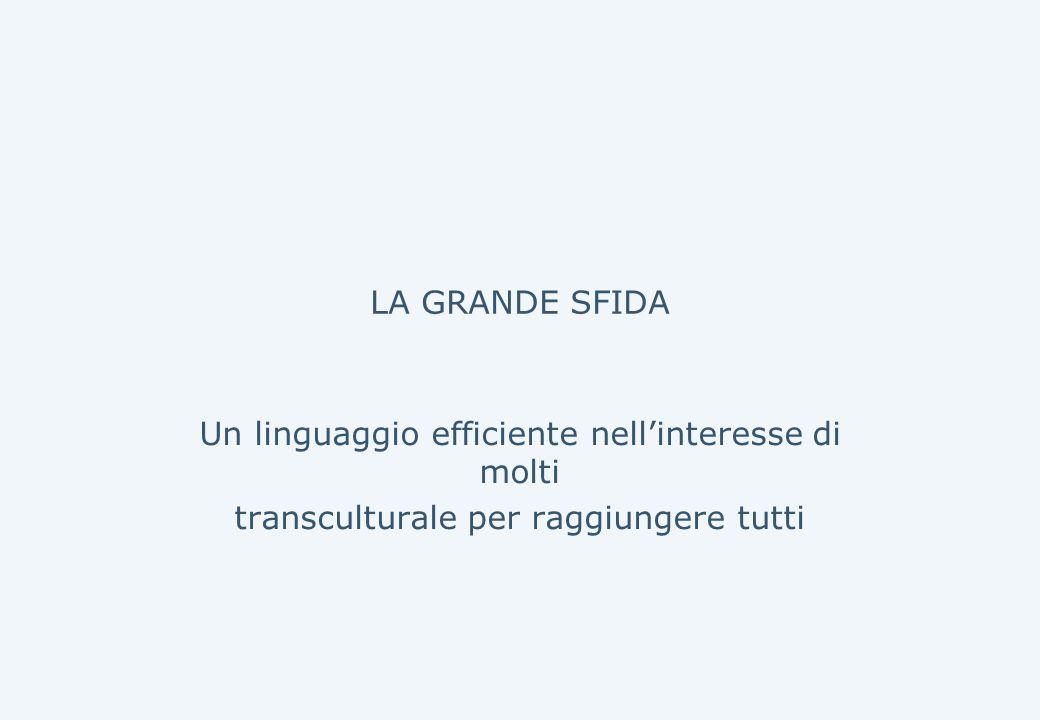 LA GRANDE SFIDA Un linguaggio efficiente nell'interesse di molti transculturale per raggiungere tutti