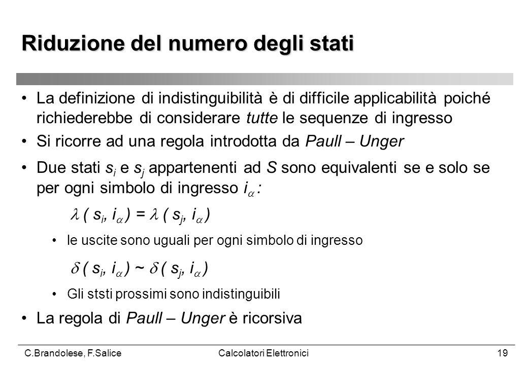 C.Brandolese, F.SaliceCalcolatori Elettronici19 La definizione di indistinguibilità è di difficile applicabilità poiché richiederebbe di considerare tutte le sequenze di ingresso Si ricorre ad una regola introdotta da Paull – Unger Due stati s i e s j appartenenti ad S sono equivalenti se e solo se per ogni simbolo di ingresso i  :  ( s i, i  ) =  ( s j, i  ) le uscite sono uguali per ogni simbolo di ingresso  ( s i, i  ) ~  ( s j, i  ) Gli ststi prossimi sono indistinguibili La regola di Paull – Unger è ricorsiva Riduzione del numero degli stati