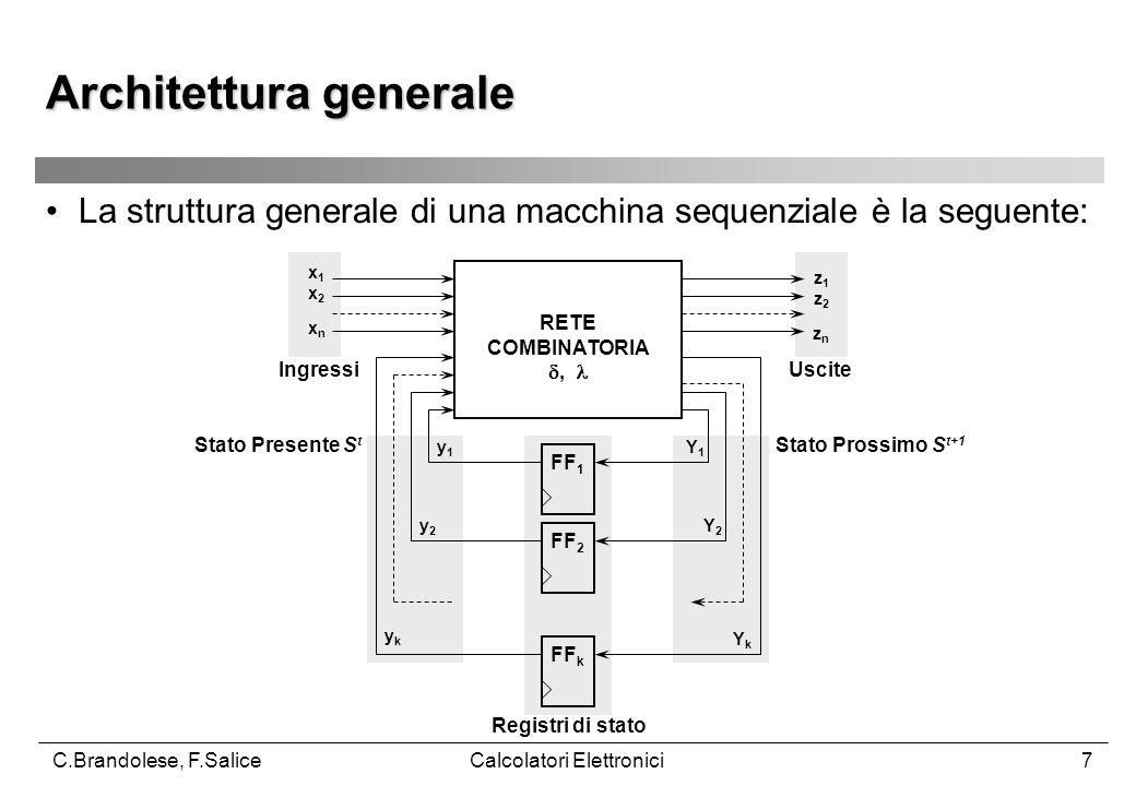 C.Brandolese, F.SaliceCalcolatori Elettronici7 La struttura generale di una macchina sequenziale è la seguente: Architettura generale RETE COMBINATORIA , FF 1 FF 2 FF k x1x2xnx1x2xn z1z2znz1z2zn y1y1 y2y2 ykyk Y1Y1 Y2Y2 YkYk IngressiUscite Stato Presente S t Stato Prossimo S t+1 Registri di stato