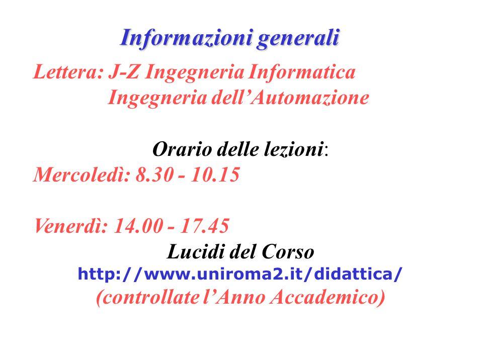 Informazioni generali Lettera: J-Z Ingegneria Informatica Ingegneria dell'Automazione Orario delle lezioni: Mercoledì: 8.30 - 10.15 Venerdì: 14.00 - 1