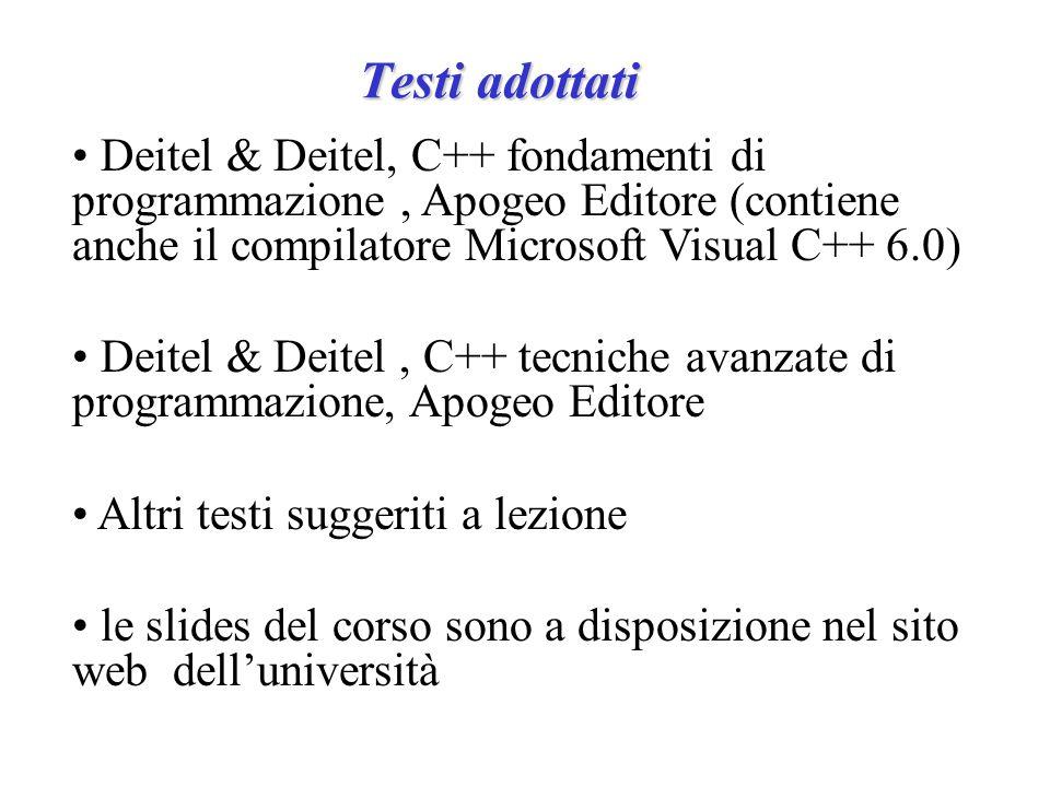 Testi adottati Deitel & Deitel, C++ fondamenti di programmazione, Apogeo Editore (contiene anche il compilatore Microsoft Visual C++ 6.0) Deitel & Deitel, C++ tecniche avanzate di programmazione, Apogeo Editore Altri testi suggeriti a lezione le slides del corso sono a disposizione nel sito web dell'università