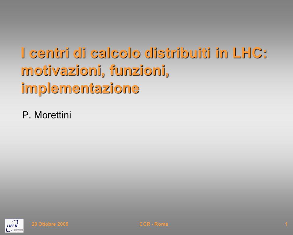 20 Settembre 2005CSN1 - Roma2 I dati del problema Per capire l'organizzazione del calcolo a LHC bisogna partire dai dati del problema, ovvero dalle dimensioni degli eventi prodotti dai rivelatori e dalla quantità di calcolo necessaria ad elaborarli.