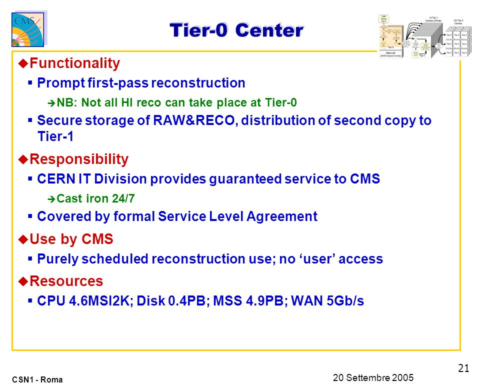 21 CSN1 - Roma 20 Settembre 2005 Tier-0 Center u Functionality  Prompt first-pass reconstruction è NB: Not all HI reco can take place at Tier-0  Secure storage of RAW&RECO, distribution of second copy to Tier-1 u Responsibility  CERN IT Division provides guaranteed service to CMS è Cast iron 24/7  Covered by formal Service Level Agreement u Use by CMS  Purely scheduled reconstruction use; no 'user' access u Resources  CPU 4.6MSI2K; Disk 0.4PB; MSS 4.9PB; WAN 5Gb/s
