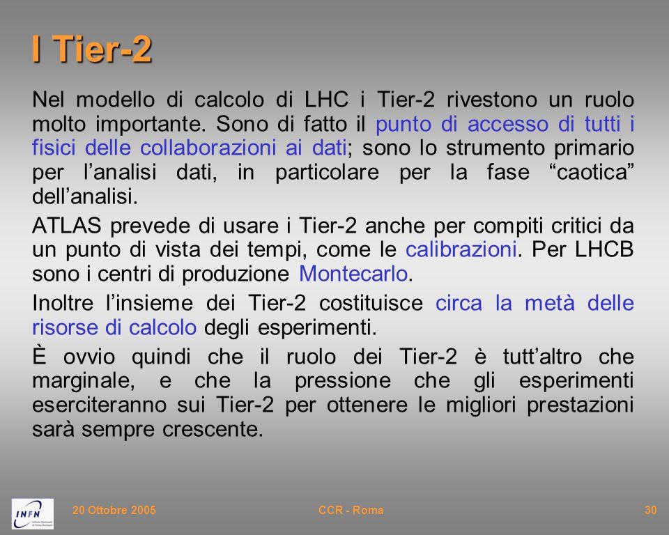 20 Ottobre 2005CCR - Roma30 I Tier-2 Nel modello di calcolo di LHC i Tier-2 rivestono un ruolo molto importante.