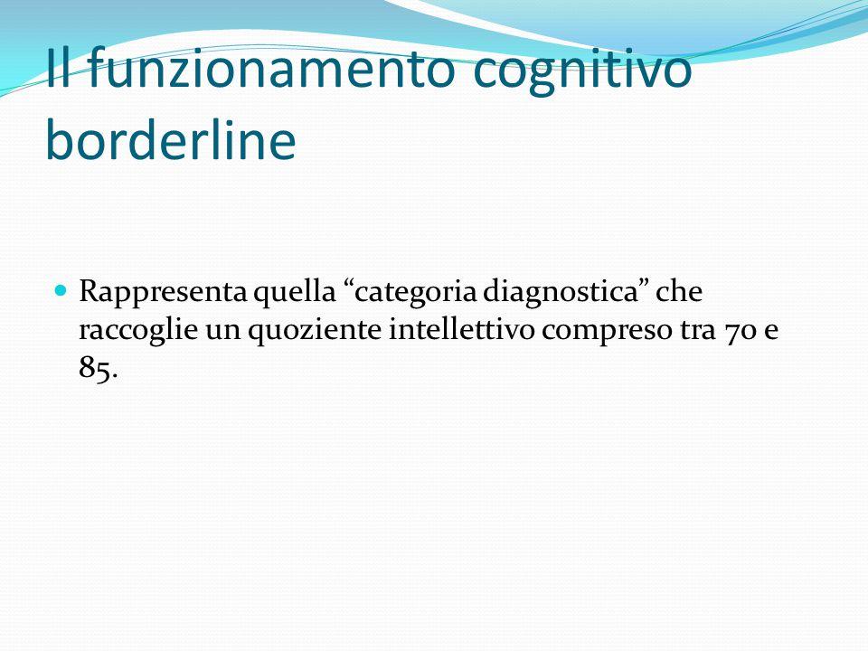 """Il funzionamento cognitivo borderline Rappresenta quella """"categoria diagnostica"""" che raccoglie un quoziente intellettivo compreso tra 70 e 85."""