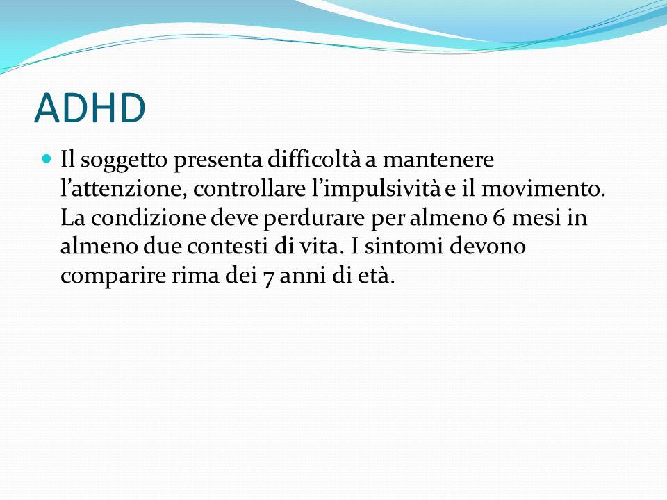 ADHD Il soggetto presenta difficoltà a mantenere l'attenzione, controllare l'impulsività e il movimento. La condizione deve perdurare per almeno 6 mes