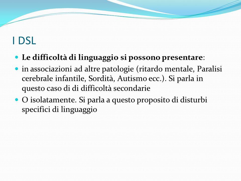 I DSL Le difficoltà di linguaggio si possono presentare: in associazioni ad altre patologie (ritardo mentale, Paralisi cerebrale infantile, Sordità, A