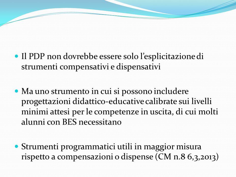 Il PDP non dovrebbe essere solo l'esplicitazione di strumenti compensativi e dispensativi Ma uno strumento in cui si possono includere progettazioni d