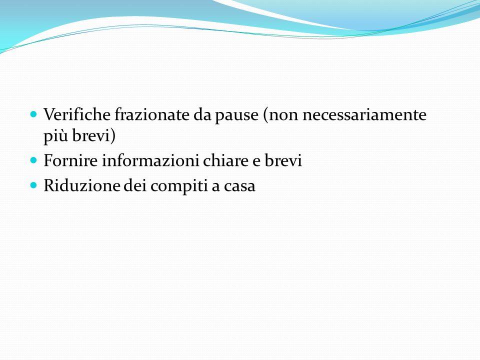 Verifiche frazionate da pause (non necessariamente più brevi) Fornire informazioni chiare e brevi Riduzione dei compiti a casa