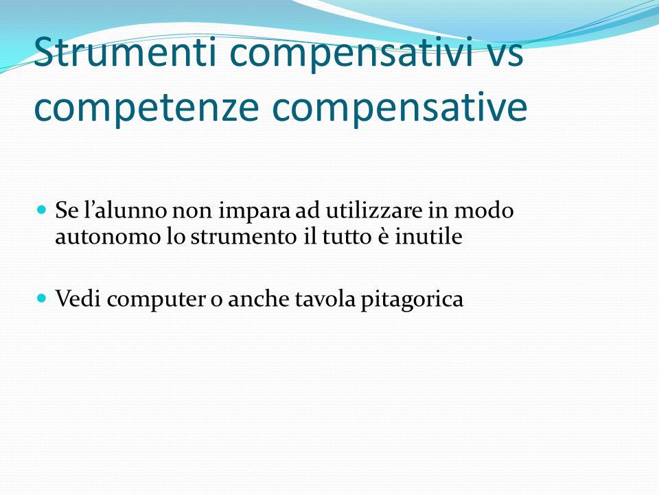 Strumenti compensativi vs competenze compensative Se l'alunno non impara ad utilizzare in modo autonomo lo strumento il tutto è inutile Vedi computer