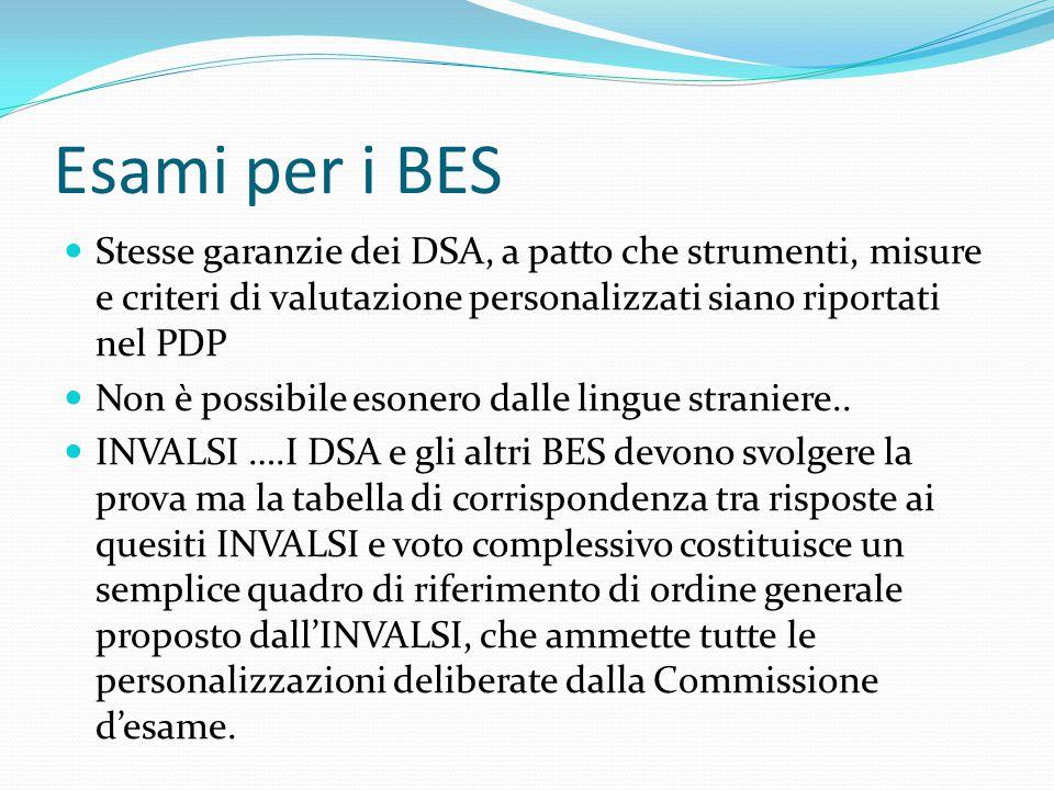 Esami per i BES Stesse garanzie dei DSA, a patto che strumenti, misure e criteri di valutazione personalizzati siano riportati nel PDP Non è possibile