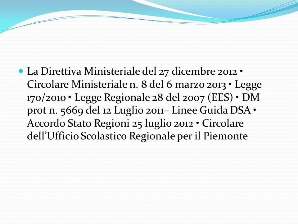 La Direttiva Ministeriale del 27 dicembre 2012 Circolare Ministeriale n. 8 del 6 marzo 2013 Legge 170/2010 Legge Regionale 28 del 2007 (EES) DM prot n