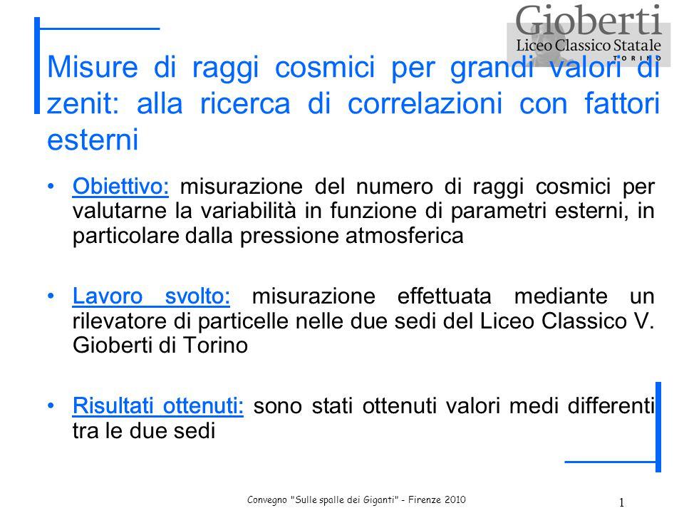 Convegno Sulle spalle dei Giganti - Firenze 2010 2 I raggi cosmici I raggi cosmici sono particelle energetiche che viaggiano ad alta velocità nell'universo e che colpiscono ininterrottamente la nostra atmosfera.