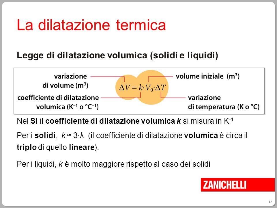 12 La dilatazione termica Legge di dilatazione volumica (solidi e liquidi) Nel SI il coefficiente di dilatazione volumica k si misura in K -1 Per i so