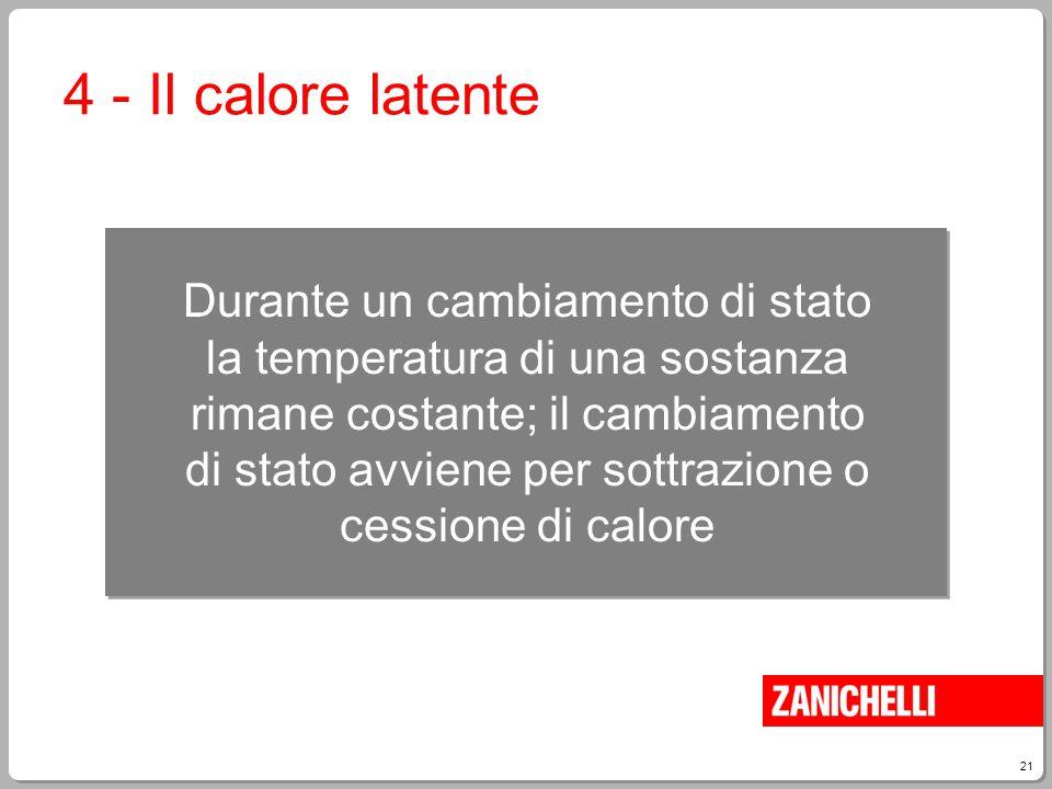 21 Durante un cambiamento di stato la temperatura di una sostanza rimane costante; il cambiamento di stato avviene per sottrazione o cessione di calor