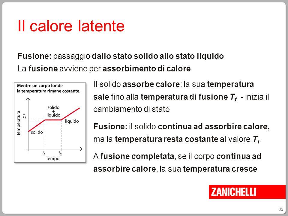 23 Il calore latente Fusione: passaggio dallo stato solido allo stato liquido La fusione avviene per assorbimento di calore Il solido assorbe calore: