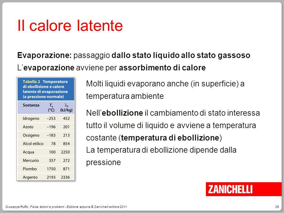 26Giuseppe Ruffo, Fisica: lezioni e problemi - Edizione azzurra © Zanichelli editore 2011 Il calore latente Evaporazione: passaggio dallo stato liquid