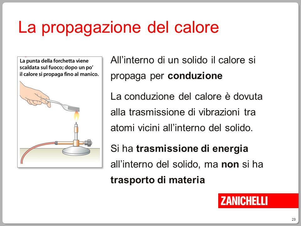 29 La propagazione del calore All'interno di un solido il calore si propaga per conduzione La conduzione del calore è dovuta alla trasmissione di vibr