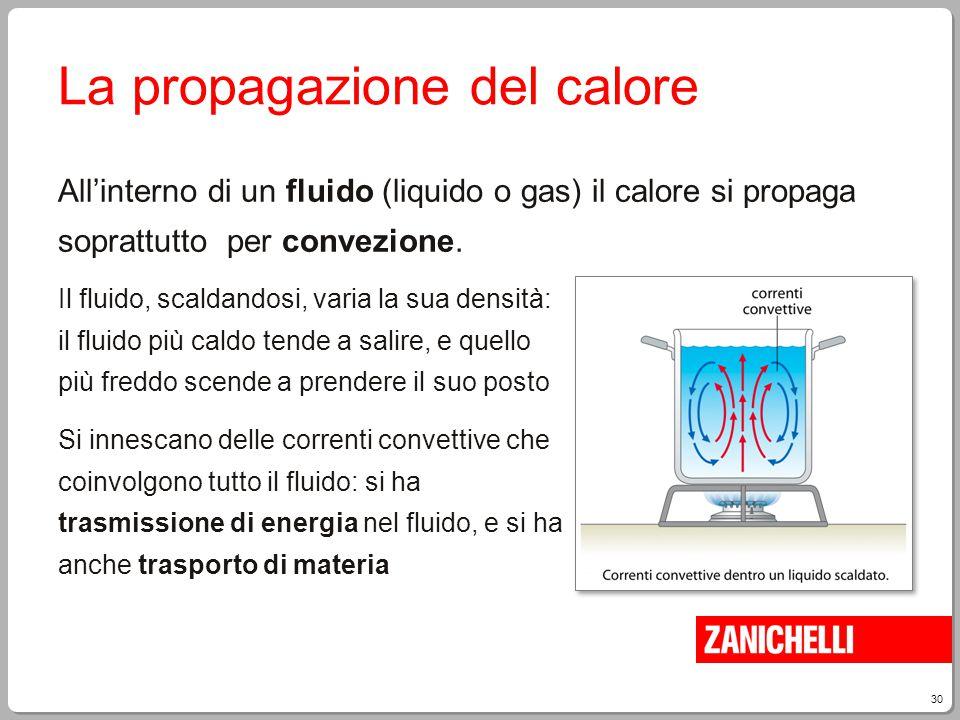 30 La propagazione del calore All'interno di un fluido (liquido o gas) il calore si propaga soprattutto per convezione. Il fluido, scaldandosi, varia