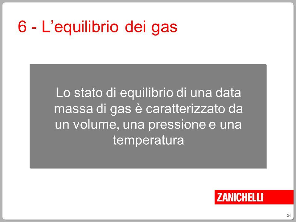 34 6 - L'equilibrio dei gas Lo stato di equilibrio di una data massa di gas è caratterizzato da un volume, una pressione e una temperatura
