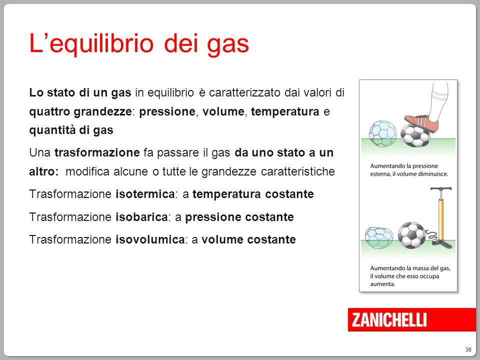36 L'equilibrio dei gas Lo stato di un gas in equilibrio è caratterizzato dai valori di quattro grandezze: pressione, volume, temperatura e quantità d