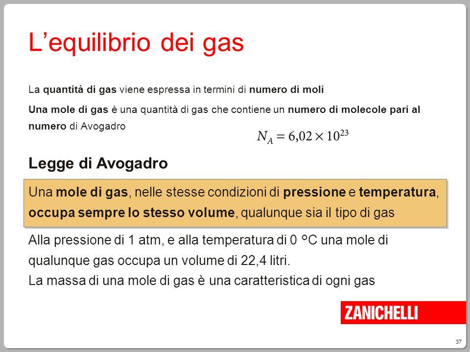 37 L'equilibrio dei gas La quantità di gas viene espressa in termini di numero di moli Una mole di gas è una quantità di gas che contiene un numero di