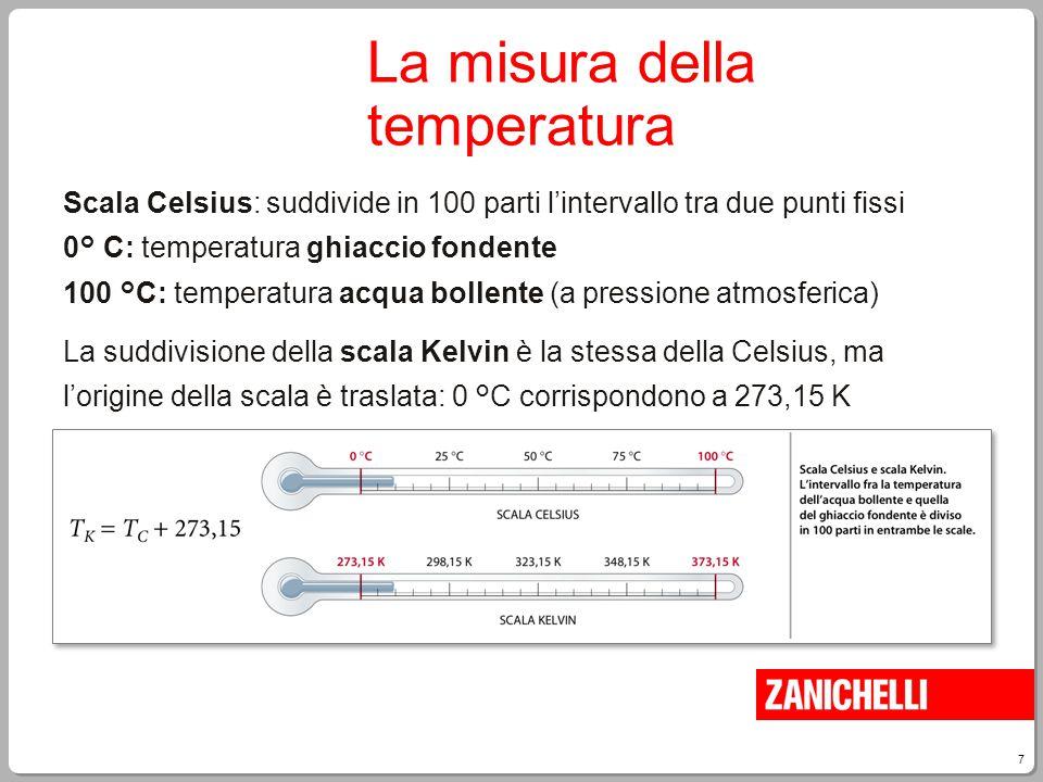 7 Scala Celsius: suddivide in 100 parti l'intervallo tra due punti fissi 0° C: temperatura ghiaccio fondente 100 °C: temperatura acqua bollente (a pre