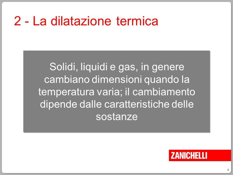 8 Solidi, liquidi e gas, in genere cambiano dimensioni quando la temperatura varia; il cambiamento dipende dalle caratteristiche delle sostanze 2 - La