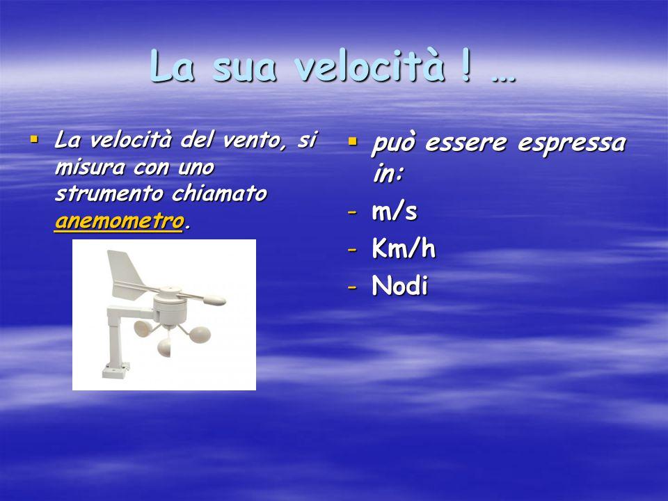 La sua velocità ! …  La velocità del vento, si misura con uno strumento chiamato anemometro. anemometro  può essere espressa in: -m/s -Km/h -Nodi